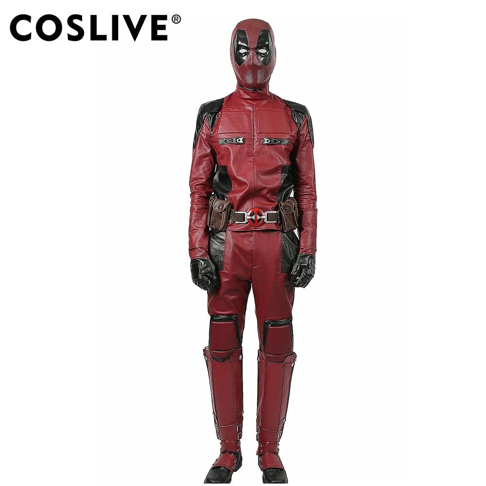 Coslive Deadpool Costume Movie Cosplay Outfit Per Adulti Costume di Halloween con Oggetti di Scena Cosplay Deadpool Costume Per Gli Uomini Adulti