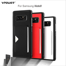 Vpower Luxury PU Leather Back Case For Samsung Galaxy Note 8 Mobile Phone Cover Wallet Card Slot Phone Capa For Galaxy Note 8