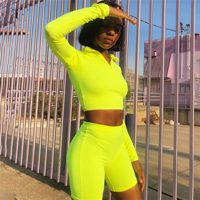 Neon Green Sportswear for Women Black Gym Clothing Fitness Suit Cropped  Long Sleeve Sport Suit Training Clothes Women Yoga Set 357a661af