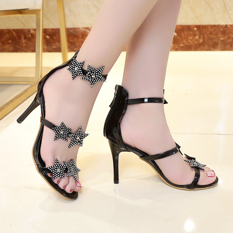 2019 new women 39 s high heel sandals rhinestone side stiletto shoulder strap buckle sexy simple wild open toe shoes in High Heels from Shoes