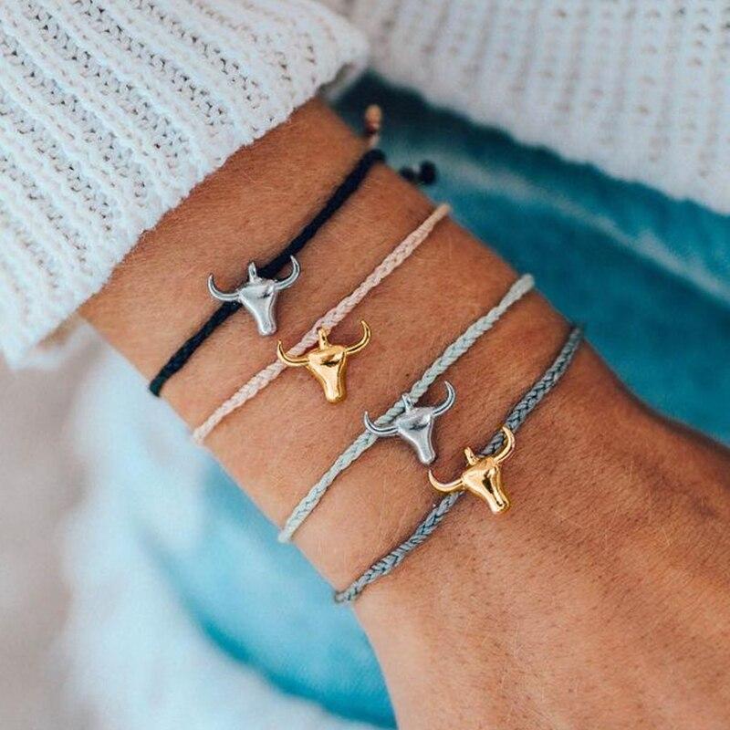 Miss JQ 4 Pcs/set Gold Color Charms Animal Rope Chain Bracelets Men Jewelry Lucky Alloy Bull Bracelets Friendship Gift