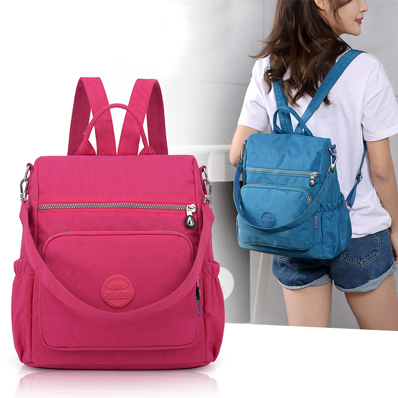 цены Women Nylon bagpack Solid Fashion ladies leisure Backpack mochilas mujer Multifunction Bag Shoulder Bag Teenage Travel Bag