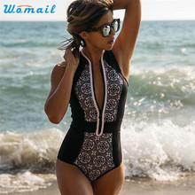 Premium WOMAIL Beach Sexy Woman Retro Print Zipper Women Jumpsuit One Piece Suits One-piece Monokini Swimsuit Bikini Gifts