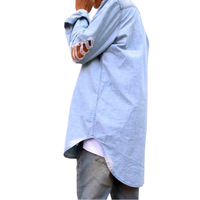Fashion Denim Shirts Men Brand Holes Long Sleeve Slim Fit Vetement Homme Casual Turn Down Collar Mens Shirts Camisa Denim Hombre