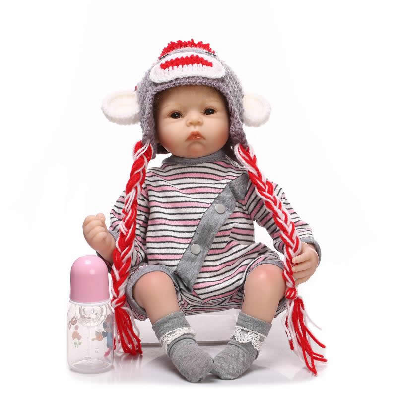 Handmade Silicone Reborn Baby Doll Lifelike 20 Inch Newborn Girl Babies With Lovely Clothes Kids Birthday Christmas Gift can sit and lie 22 inch reborn baby doll realistic lifelike silicone newborn babies with pink dress kids birthday christmas gift
