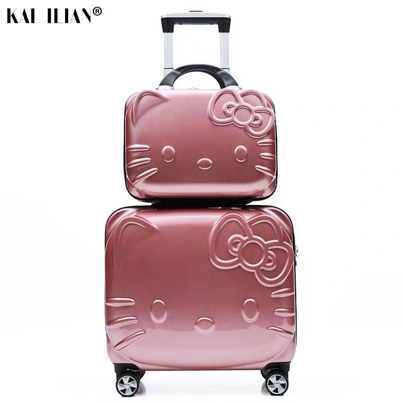 14 18 Zoll Koffer Set Hallo Kitty Roll Gepäck Spinner Räder Kind Reise Trolley Koffer Nettes Kind Handtasche Mädchen Geschenk