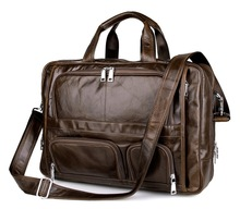 men's genuine leather handbag totes vintage business briefcase 15.6″ laptop bag