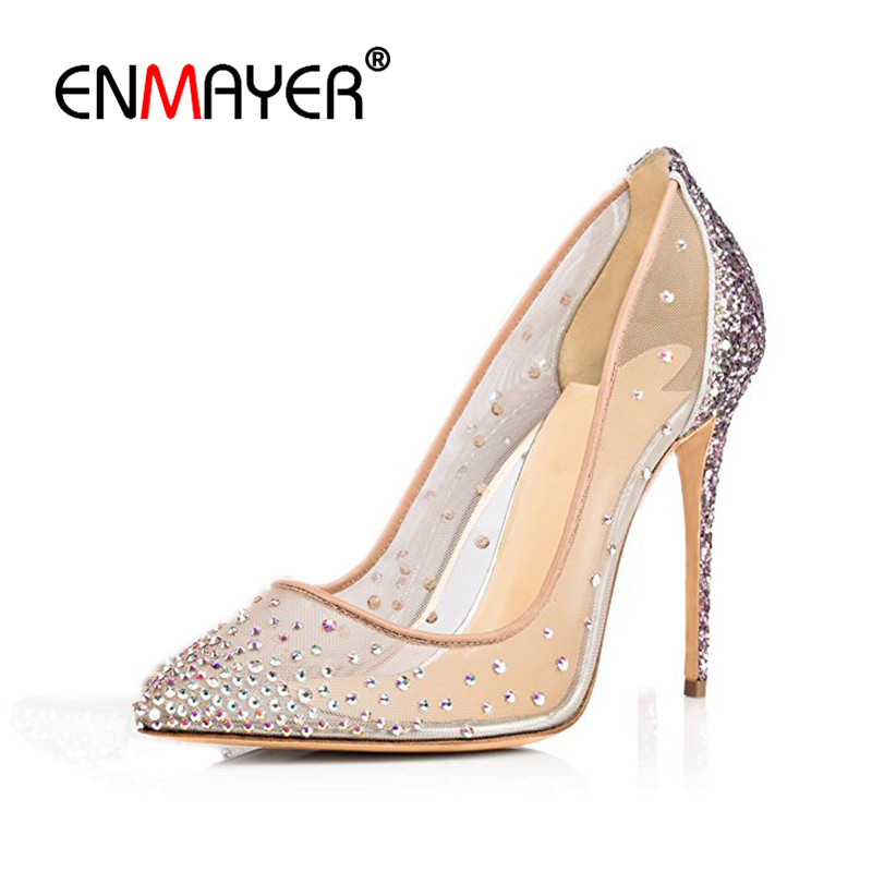 ENMAYER Woman Shoes 2017 Summer Shallow Pumps Shoes Women High Heels Poined Toe Plus Size 35-46 Black Beige Wedding Party Shoes enmayer pointed toe sexy black lace party wedding shoes woman high heels shallow pumps plus size 35 46 thin heels slip on pumps