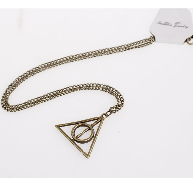 Necklace for Men New Deathly Hallows Jewelry Pendants Retro Time Gem Necklace