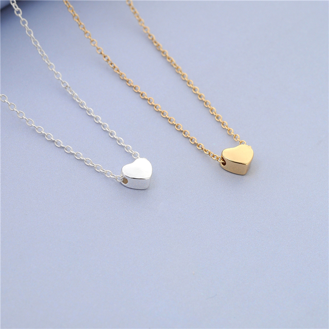 Simple design tiny heart necklace tiny thick heart neckace cute simple design tiny heart necklace tiny thick heart neckace cute sweet goldsilver women necklace mozeypictures Images
