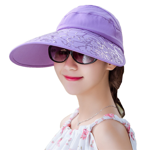 Brand Women Sun Hats Stripe Sequins Packable Cotton Visor Hat With Heads Wide Brim