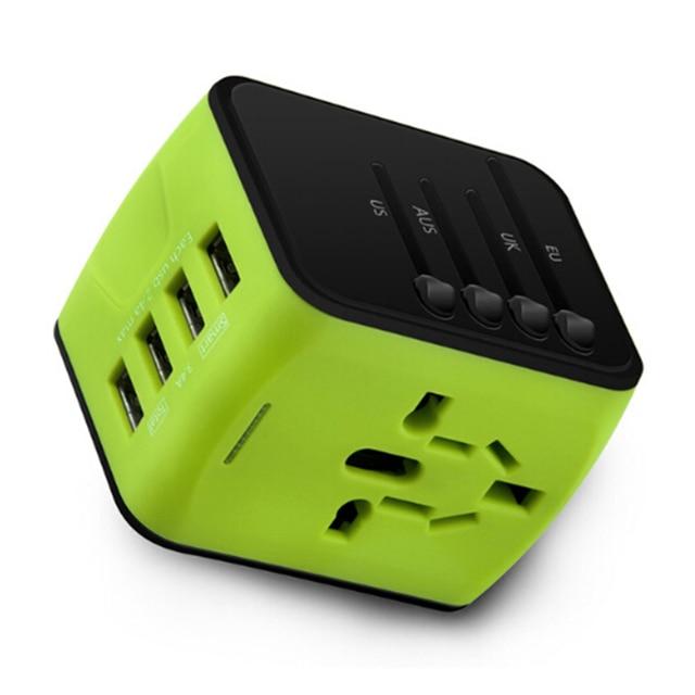 FORNORM Universal Travel Charger Adapter 4 USB Part Adaptor Worldwide Electrical Socket US UK EU AU International Travel Plug 4