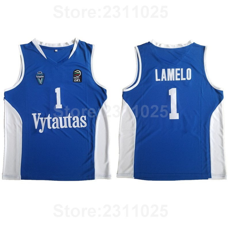 online retailer ab243 1c0b3 Aliexpress.com : Buy Ediwallen Movie Vytautas LaMelo Ball Jersey 1 Men  Basketball Blue White Team Away All Stitched Breathable Excellent Quality  from ...