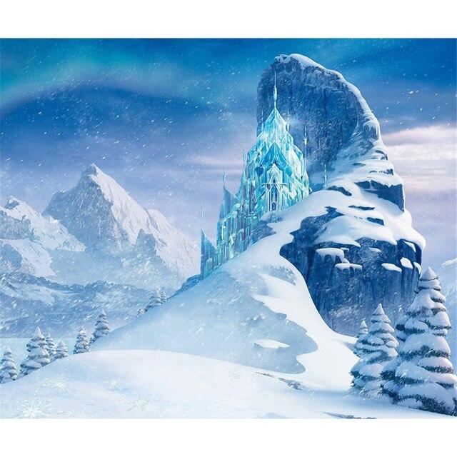 2.2X1.5 polyester neige montagnes gelé palais photographie toile de fond bleu hiver pays des merveilles fond pour studio de photo