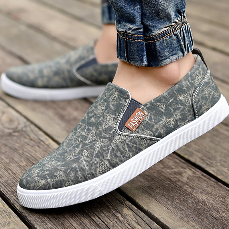 Canvas shoes slip-on solid band fashion male loafers