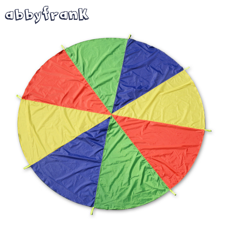 Abbyfrank Kids Play Rainbow Parachute 8 Handles 2m Multicolor Nylon Parachute Outdoor Fun Kids Toy Suitable For 4-8 individuals