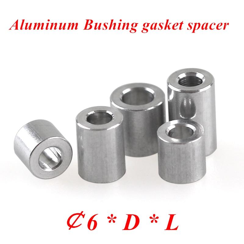 20 Pcs M6 Aluminium Platte Wasmachine Aluminium Bus Pakking Spacer Cnc Mouw Niet-schroefdraad Afstandhouders Voor Rc Model Onderdelen
