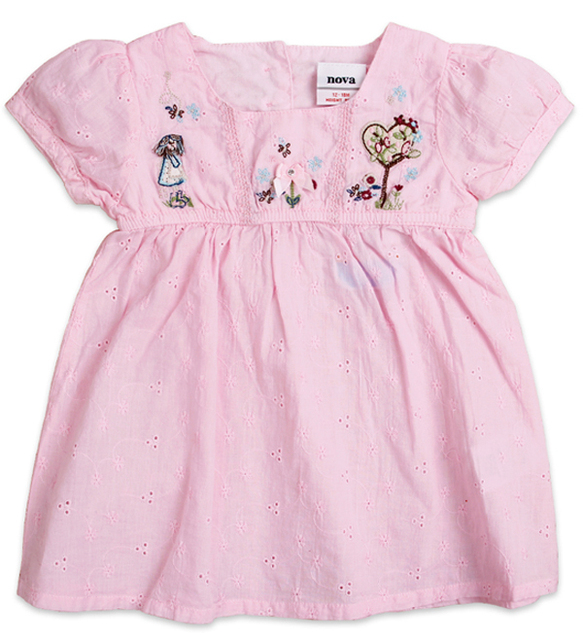 Free shipping high quality NWT 5pcs/lot baby girl summer woven short sleeve embroidery dress