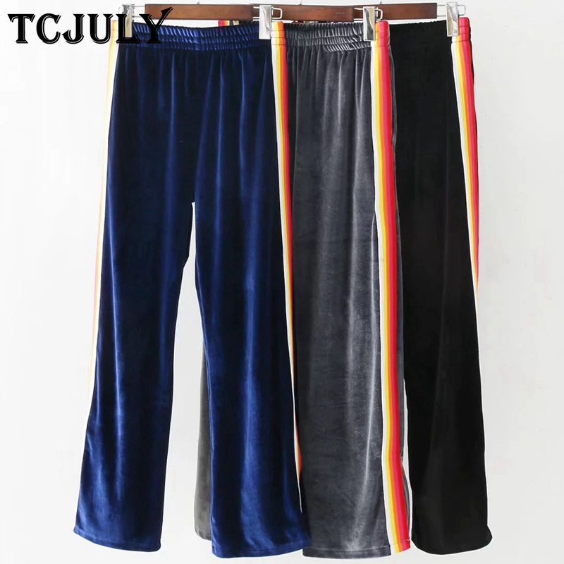 fe14944ef1d9b Aliexpress.com   Buy TCJULY Autumn Winter Wear Velvet Pants High Waist  Stretch Trousers With Stripes Streetwear Loose Casual Wide Leg Pants For  Women from ...