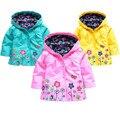 NUEVOS Muchachos Encapuchados Niñas Chaqueta para Chica Cabritos de la Capa Outwear Invierno Abrigos Ropa de Abrigo de Primavera Otoño Niños De La Manera Impermeable