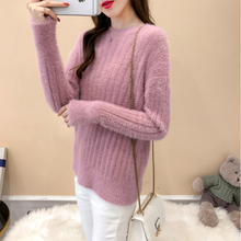 Mohair Pullover Sweater Woman Knitted Sweaters Long Sleeve Loose O-Neck Female Sweater Pullover Pull Femme new sweater women cardigan knitted sweater coat long sleeve female casual o neck woman cardigans tops pull femme