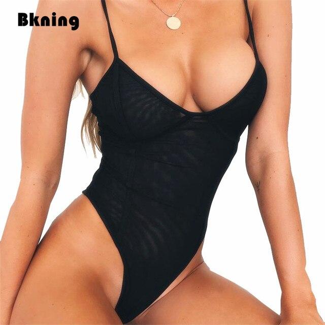 553914d6b52 Black Thong One 1 Piece Swimsuit Mesh Sexy High Cut Swimming Suit Women Brazilian  Swimwear Trikinis