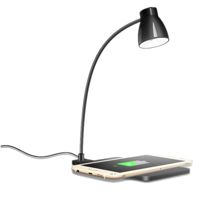 Qi Wireless Desktop Charger Pad With Led Desk Table Lamp