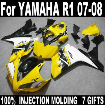 Fit 100% injection molding fairings for YAMAHA R1 2007 2008 yellow black white body work parts fairing kit YZF R1 07 08 HZ59