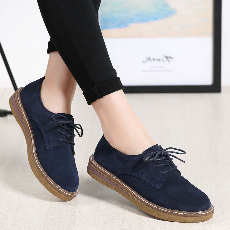 2019 Spring Women Sneakers Oxford Shoes Flats Shoes Women Leather Suede Lace Up Boat Shoes Round Toe Flats Moccasins