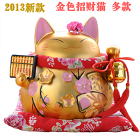Lucky Cat Ornaments Ceramic Large Piggy Opened Genuine Japan Lucky Cat Golden Wedding Gift