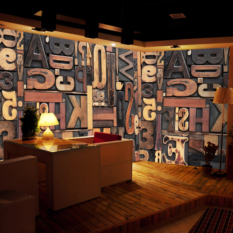 3d stereo mural wood alphabet puzzle wallpaper art mural for Cafe mural wallpaper