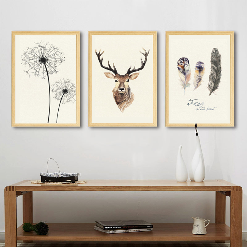 Nordic Decoration Deer Feathers Vintage Poster Canvas Prints Wall Art Painting