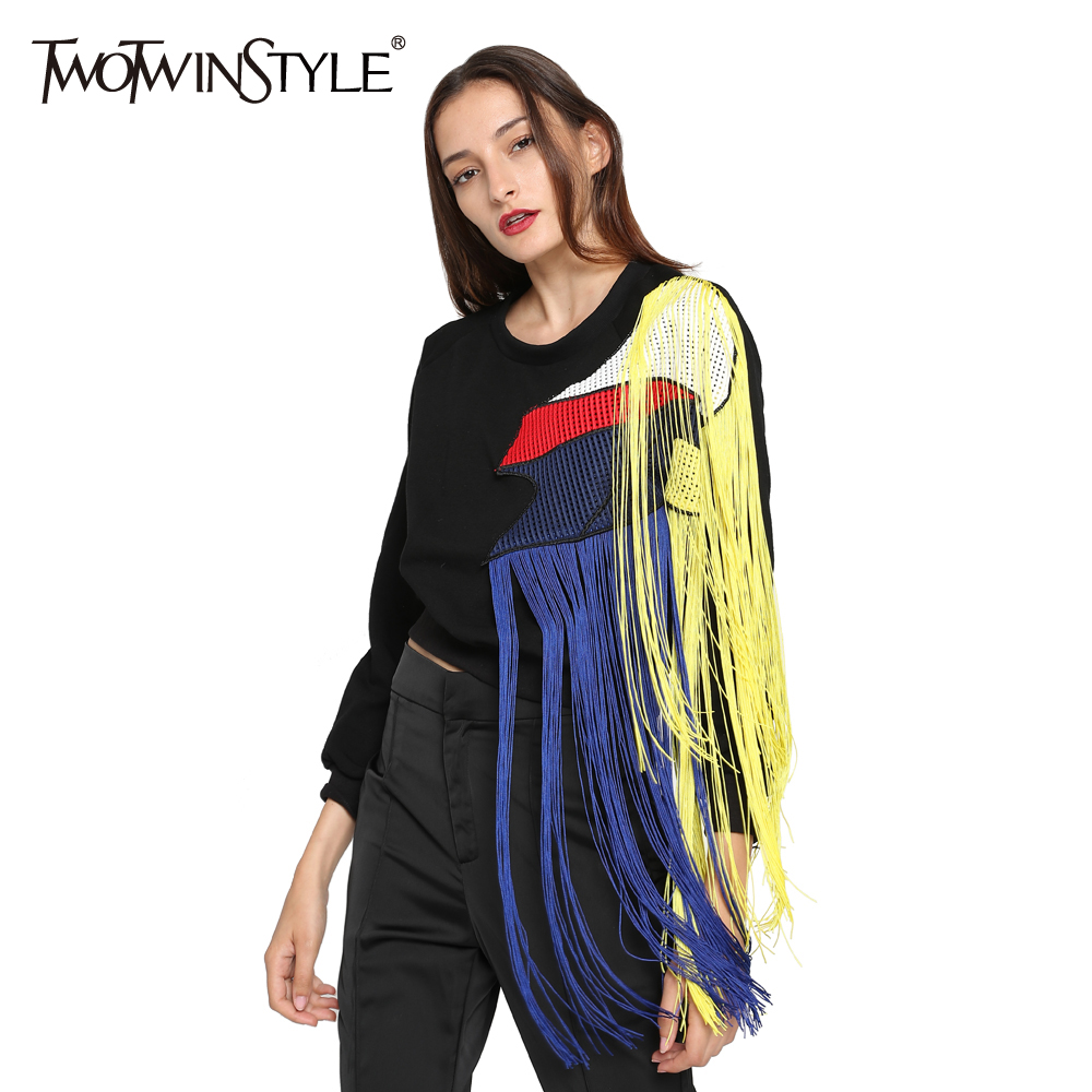 [TWOTWINSTYLE] 2019 Autumn Women Hoodies Sweatshirt Streetwear Rainbow Tassels Stitching Mesh Thickened Fleece Long Sleeves New