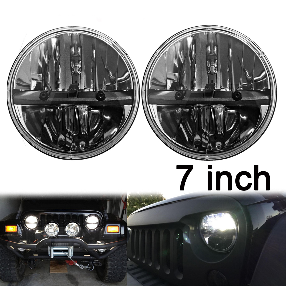 7 inch round led car headlight for Jeep Wrangler Jk Cj Tj Offroad Motorcycle Hi-Lo Beam H4 LED headlamp 2pcs 7inch 85w 75w cree led headlight for truck offroad with hi lo beam replacement kit for motorcycle jeep wrangler