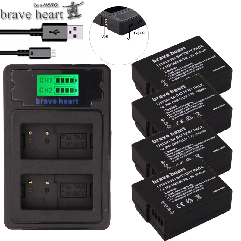 Dual-Charger Blc12-Batteries FZ1000 FZ200 Panasonic Lumix BLC12PP G5 DMW For Fz200/Fz300/G5/..