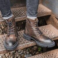 В британском стиле рабочие сапоги высокие, чтобы помочь кожи в стиле ретро мужские военные ботинки сапоги