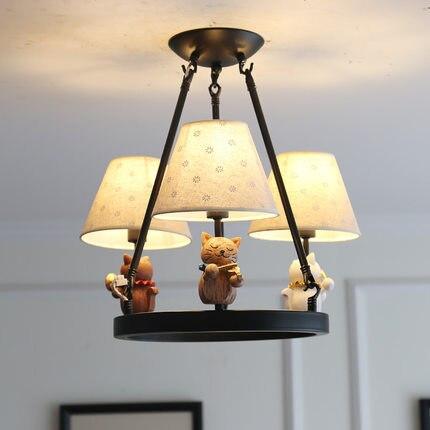 Dessin animé américain chaton lustre enfant chambre garçon fille chambre moderne minimaliste poupée pendentif LED lampe livraison gratuite