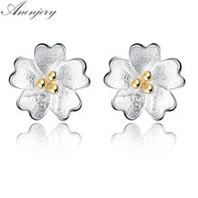 Anenjery 925 Sterling Silver Earrings Gold Center Sweet Cheery Flower For Women Girl Sude Earrings brincos S-E209(China)