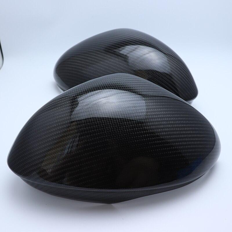 1 paire 100% Réel de Fiber De Carbone Side Mirror Cover Cap Remplacement Caps Shell pour Alfa Romeo Giulia 2015 2016 2017 2018 car styling
