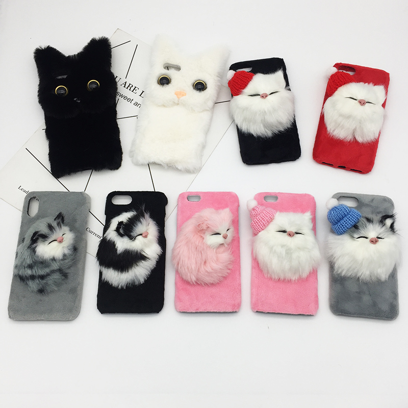 Galleria fotografica Cute Cat Fluffy Fur Phone Case For iPhone XS MAX XR X Silicone Hard PC Lovely Cover For iPhone 8 Plus 7 6s 6 Plus Christmas Case