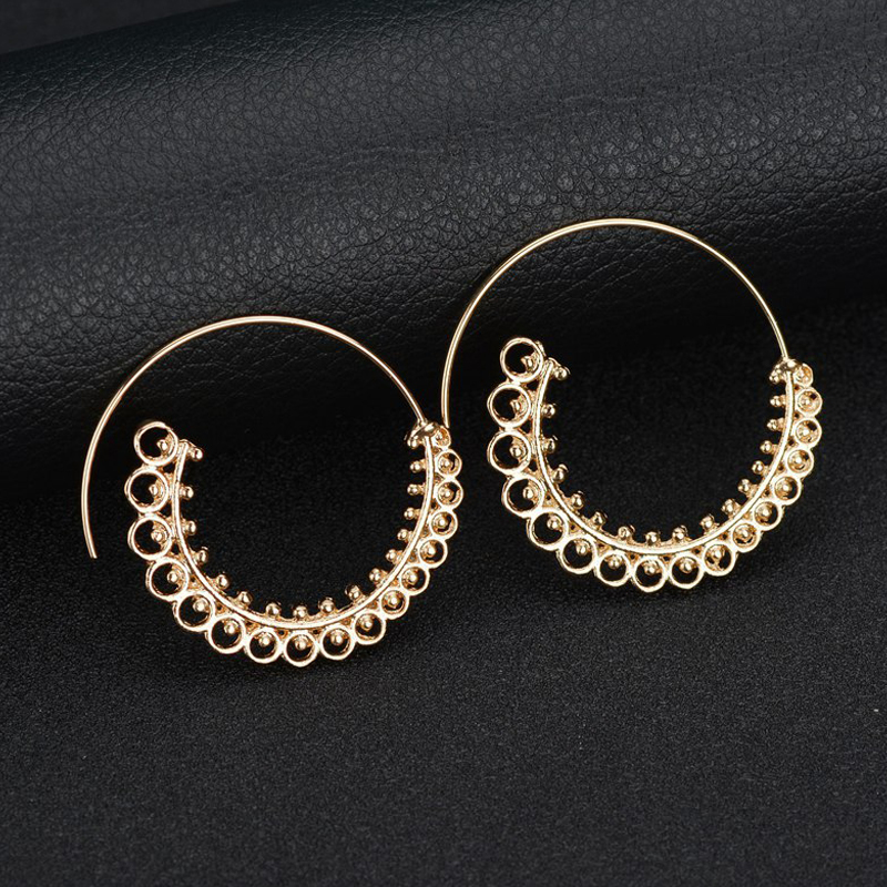 Itenice Punk Gold Sliver Hollow Spiral Dangle Earrings Women Ladies Tribal Gear Drop Earrings Circle Ear Festival Jewelry Gift