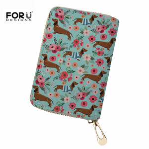 FORUDESIGNS Card Slots Pu Leather Lady Card Holders Fashion Dachshund Flower Credit Card Wallet Brand Women Business Card Holder(China)
