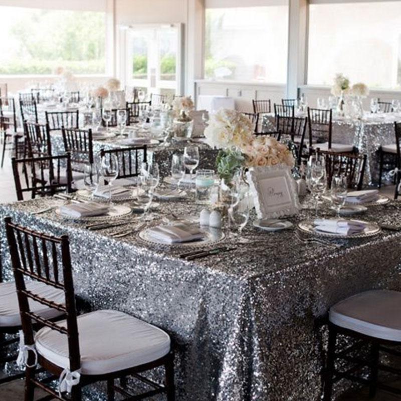 120x180 см блесток скатерть Прямоугольник Серебро для свадьбы Рождество Черная пятница вечерние льняные товар для быта домашняя скатерть - Цвет: Silver