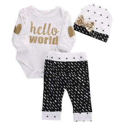 3PCS Newborn Baby Girl Boy Gold Hello World Top Bodysuit Pants Leggings Hat Outfits Set Baby Clothing цены