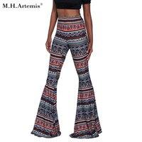 M H Artemis Boho Flare Pant Hot Ethnic Floral Print Wide Leg Pants Hippie Trousers Beach