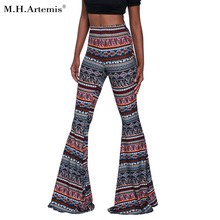 M. H. Artemis Boho Etnis Floral Print lebar kaki Flare Pant Hot celana Celana pantai celana panjang Exuma Hippie Slim Fit Palazzo S-2XL