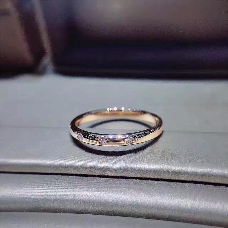 ANI 18 К розовое золото (AU750) Для женщин обручальное кольцо сертифицированные I/SI 0,068 ct настоящий бриллиант обручальное тонкой Обручение ювелир