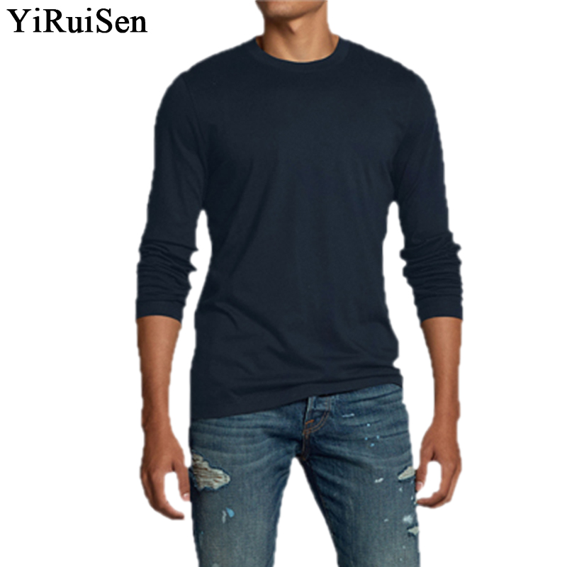 Top Quality Men's 100% Cotton Solid Long Sleeve   T     Shirt   Men 2018 YIRUISEN Brand   T     Shirts   Casual Male Top Tees Autumn Clothing
