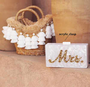 Image 1 - Ins Hot Selling Acrylic Box Clutches Women Lady Evening Brand bag Pearl White with Silver Glitter  Gold Glitter Name Mrs Letter