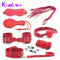 New 8 pcs Restraints Black Bondage Set Fetish Collar Whip Rope Ball Mask Handcuff Sex Products for Couple